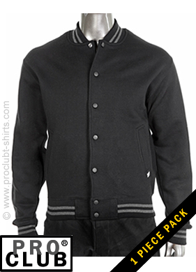Pro Club Mens Fleece Baseball Jacket BLACK