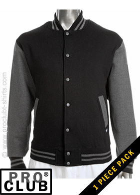 Pro Club Mens Fleece Baseball Jacket BLACK with CHARCOAL