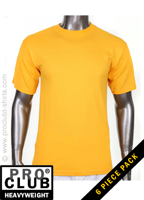 cb212cce3 Pro Club Mens Short Sleeve Tee Crew Neck Heavy Weight GOLD