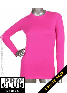 9b3149740b0 Pro Club Ladies Long Sleeve Crew Neck HOT PINK