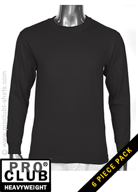 Pro Club Mens Long Sleeve Tee Crew Neck Heavy Weight BLACK