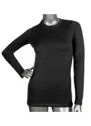 Ladies Long Sleeve Crew Neck BLACK