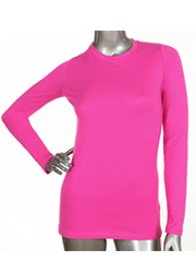 Ladies Long Sleeve Crew Neck HOT PINK