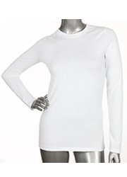 Ladies Long Sleeve Crew Neck WHITE