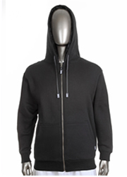 Mens Pile Jacket Full Zip Hood BLACK/BLACK