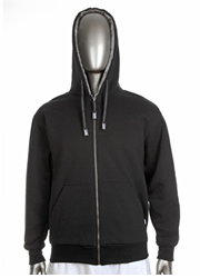 Mens Pile Jacket Full Zip Hood BLACK/GRAY