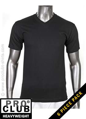 90f086ac0 Pro Club Mens Short Sleeve Tee V-Neck Heavyweight BLACK