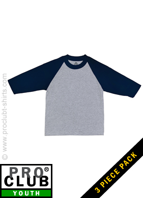 8f145695 Pro Club Youth Baseball Tee HEATHER GRAY-DARK NAVY